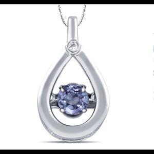 Jewelry - Diamond with Tanzanite Teardrop Pendant in Silver